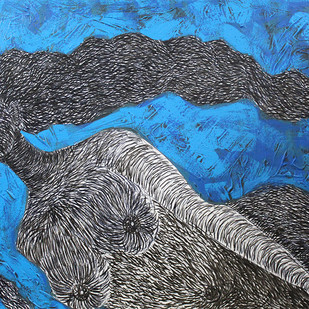 Beautiful Hairs in Blue Digital Print by M.Ramalingam,Expressionism