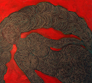 Rose Lady by M.Ramalingam, Expressionism Painting, Acrylic & Ink on Canvas, Brown color