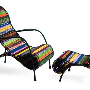 Seraphina Chair & Ottoman In Tropical Multicolor Furniture By Sahil & Sarthak