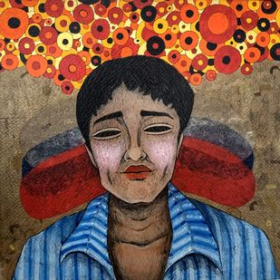 potrait 2 by Himanshu Lodwal, Expressionism Painting, Mixed Media on Paper, Brown color