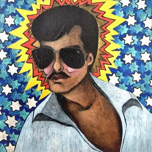 potrait 3 by Himanshu Lodwal, Pop Art Painting, Mixed Media on Paper, Brown color