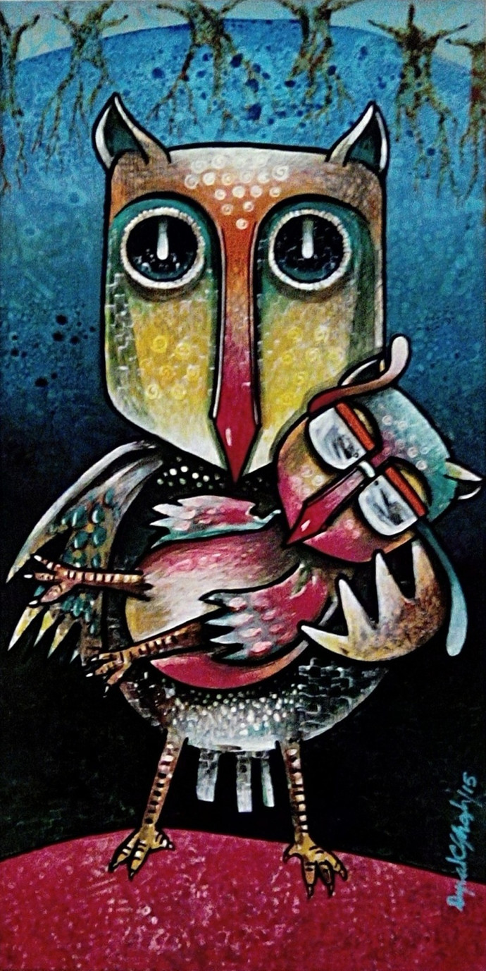 OWL FAMILY by Dipak Ghosh, Pop Art Painting, Acrylic on Paper, Brown color