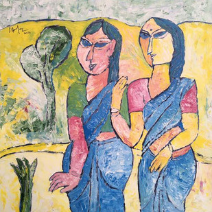 LADIES IN BLUE by C. Dakshinamoorthy, Expressionism Painting, Oil on Canvas, Beige color