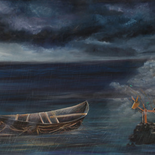 ROOTED BOAT by Manu Singh, Fantasy Painting, Oil on Canvas, Blue color