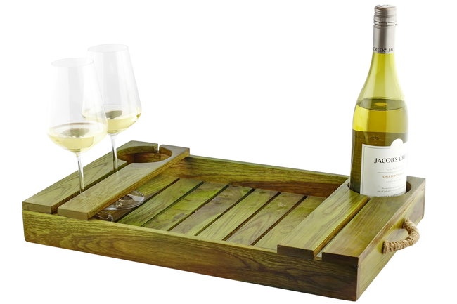 Wood Wine Carrier Tray By Desi Jugaad
