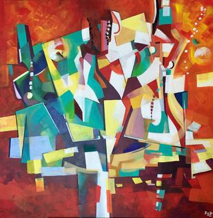 Confident by Ella Prakash, Cubism Painting, Acrylic on Canvas, Brown color