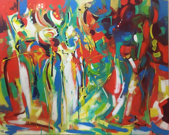 Summer Dance by Ella Prakash, Cubism Painting, Acrylic on Canvas, Brown color