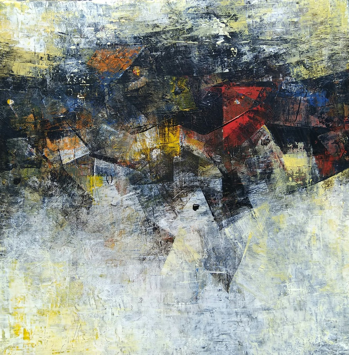 Distant view by M Singh, Abstract Painting, Acrylic on Canvas, Gray color