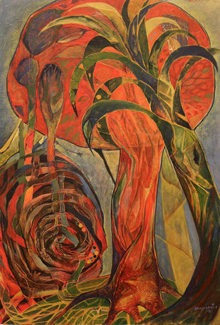 Natural cycle by Bakiyaraj Pandurangan, Expressionism Painting, Acrylic on Canvas, Brown color