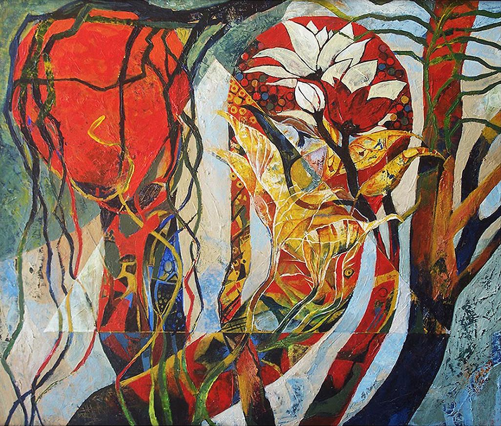 LIFE GARDEN by Bakiyaraj Pandurangan, Expressionism Painting, Acrylic on Board, Brown color