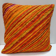 Katran Cushion : Diagonal Line Pattern :Orange Cushion Cover By Sahil & Sarthak