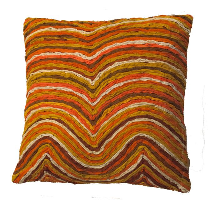 Katran Cushion : Wave Line Pattern :Orange Cushion Cover By Sahil & Sarthak