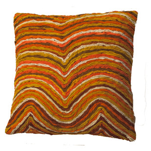 Katran Cushion : Wave Line Pattern :Orange Cushion Cover By Sahil & Sarthak