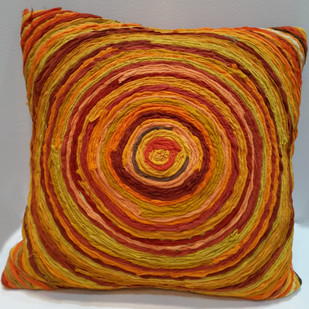 Katran Cushion : Round Line Pattern : Orange Cushion Cover By Sahil & Sarthak