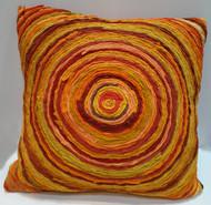 Katran Cushion : Round Line Pattern : Orange Cushion Cover By Sahil & Sarthak