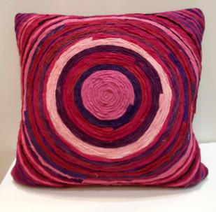 Katran Cushion : Round Line Pattern : Fuschia Cushion Cover By Sahil & Sarthak