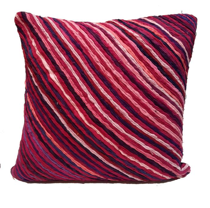 Katran Cushion : Diagnol Line Pattern : Fuschia Cushion Cover By Sahil & Sarthak