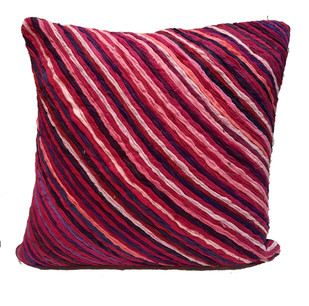 Katran Cushion : Diagnol Line Pattern : Fuschia Cushion Cover By Sahil & Sarthak