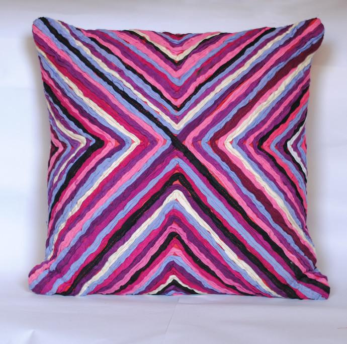 Katran Cushion : Kite Line Pattern : Fuschia Cushion Cover By Sahil & Sarthak
