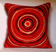 Katran Cushion : Round Line Pattern : Red Cushion Cover By Sahil & Sarthak