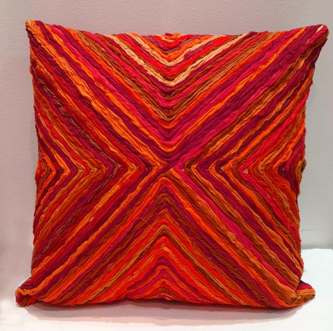 Katran Cushion : Kite Line Pattern : Red Cushion Cover By Sahil & Sarthak