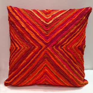 Katran Cushion : Kite Line Pattern : Red Cushion Cover By Sahil & Sarthak