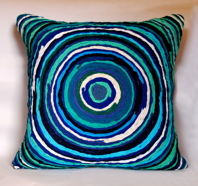 Katran Cushion : Round Line Pattern : Blue Cushion Cover By Sahil & Sarthak