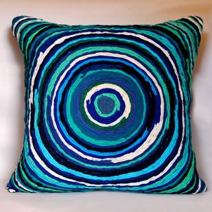 Katran Cushion : Round Line Pattern : Blue Cushion Cover By Sahil & Sarthak