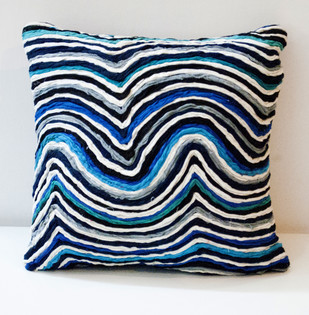 Katran Cushion : WaveLine Pattern : Blue Cushion Cover By Sahil & Sarthak
