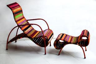 Seraphina Chair & Ottoman In Orange Multicolor Furniture By Sahil & Sarthak