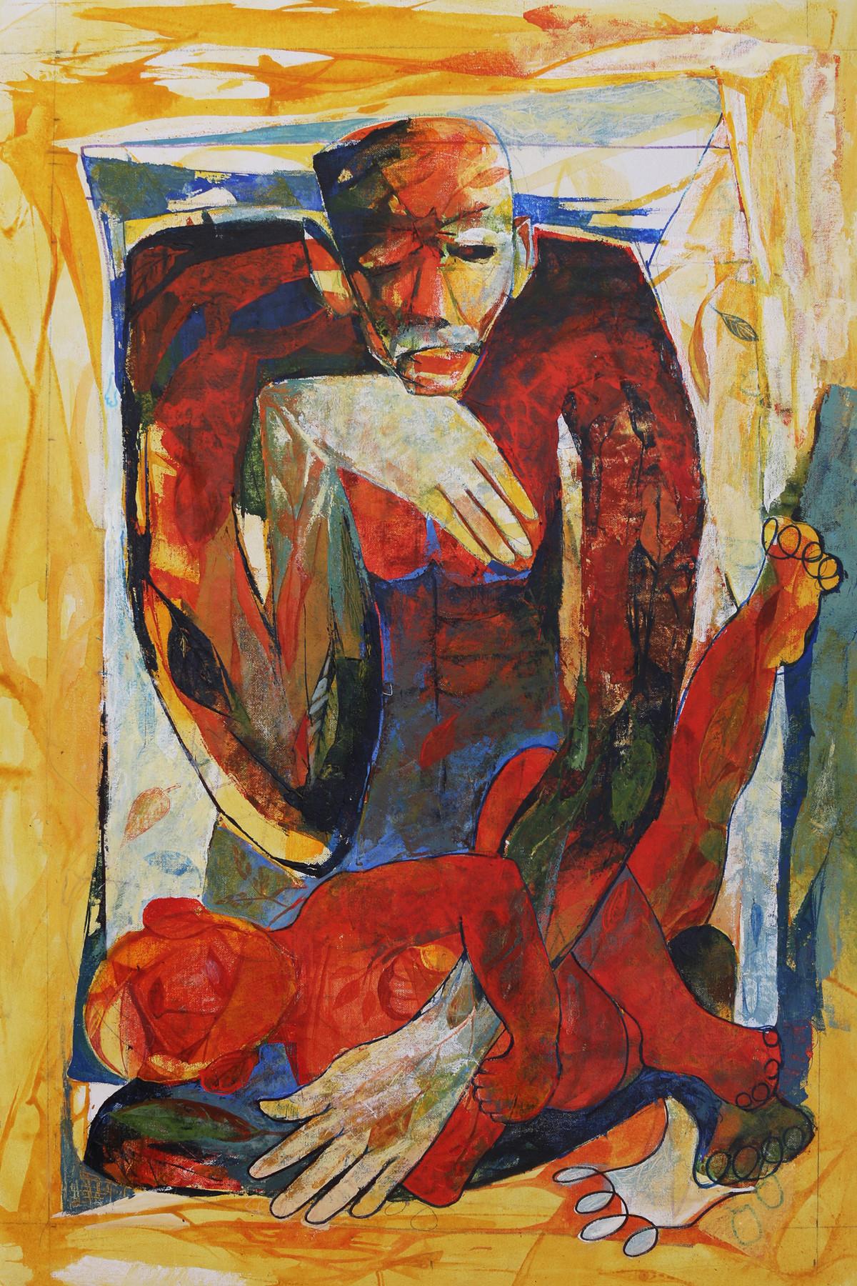 Storyteller by Bakiyaraj Pandurangan, Expressionism Painting, Acrylic on Canvas, Brown color