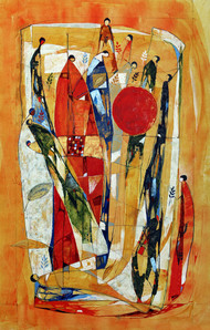 Allegory of hope by Bakiyaraj Pandurangan, Expressionism Painting, Acrylic on Canvas, Brown color