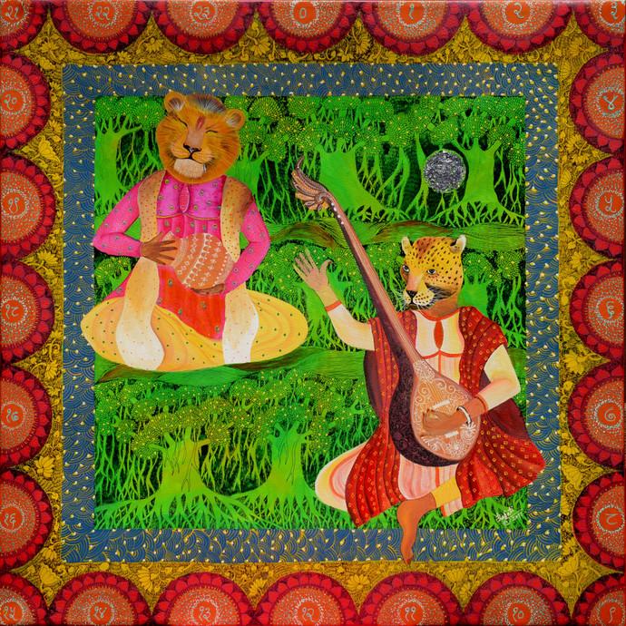 Indian Raaga 'Tilak Kamod' by Pragati Sharma Mohanty, Fantasy Painting, Mixed Media on Canvas, Brown color