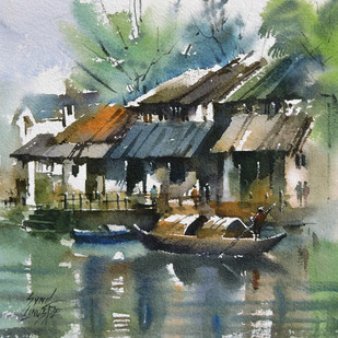 Back water by Sunil Linus De, Impressionism Painting, Watercolor on Paper, Green color
