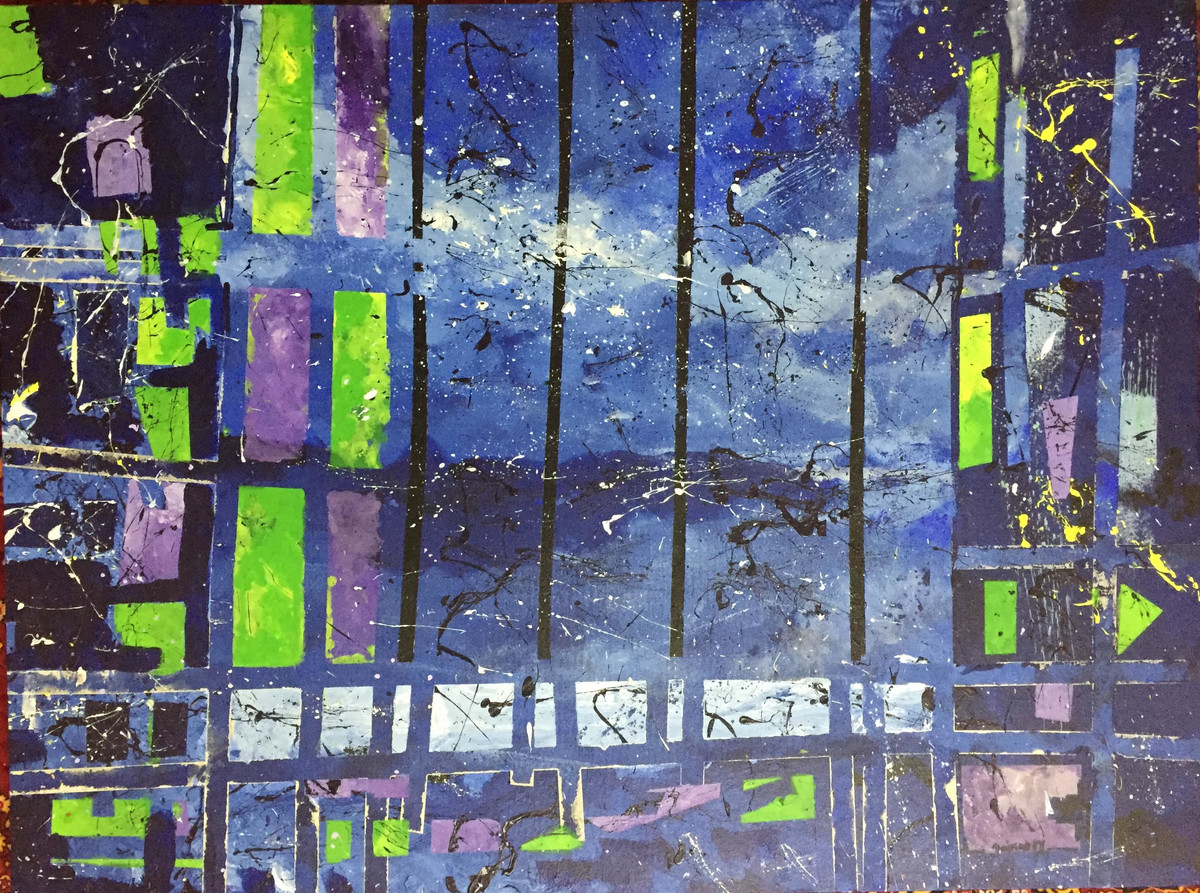 The Urban Fixation by Saikat Chakraborty, Expressionism Painting, Acrylic on Canvas, Blue color