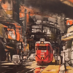 untiteled by Arpan Bhowmik, Impressionism Painting, Mixed Media on Canvas, Brown color