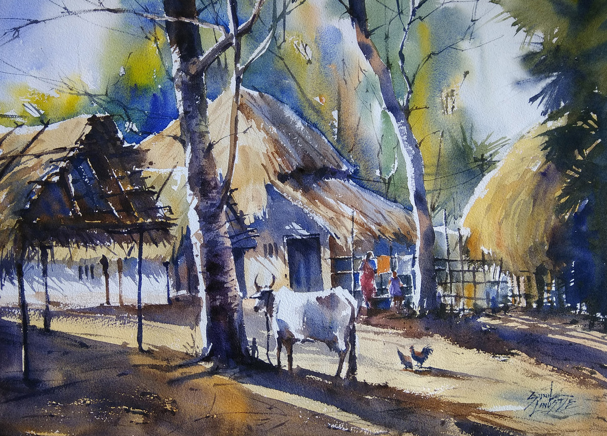 Village life by sunil linus de impressionism painting watercolor on paper gray color