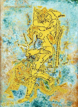 untitled by A P Santhanaraj, Expressionism Painting, Acrylic on Paper, Beige color