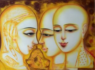 untitled by Dharmendra Rathore, Expressionism Painting, Mixed Media on Paper, Beige color