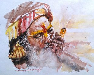 Smoking sadhu by Sreenivasa Ram Makineedi, Expressionism Painting, Watercolor on Paper, Pink color