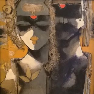 Form & Formless by Sachin Jaltare, Expressionism Painting, Acrylic & Ink on Canvas, Gray color