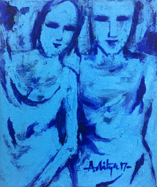 BONDING by Aditya Dev, Expressionism Painting, Acrylic on Canvas, Blue color