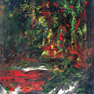 LANDSCAPE 3 by Aditya Dev, Abstract Painting, Acrylic on Paper, Green color