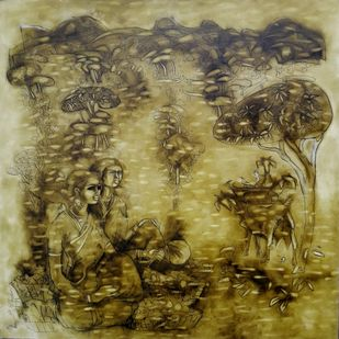 A DAY IN THE VILLAGE by Manoharan N, Expressionism Painting, Oil on Canvas, Brown color