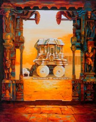 STONE CHARIOT OF HAMPI - I by Ganesh Doddamani, Realism Painting, Oil on Canvas, Brown color