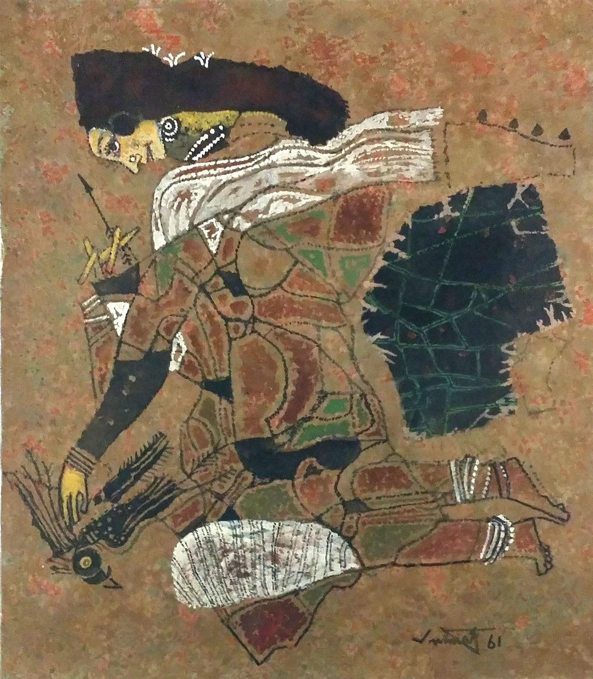 untitled by A P Santhanaraj, Expressionism Painting, Oil on Canvas, Brown color