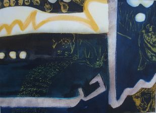 SHUNAKHT-SHAHEED, (LUFZ SERIES) by Waseem Mushtaq Wani, Expressionism Painting, Mixed Media on Paper, Blue color