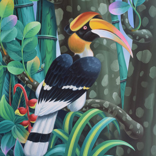 hornbill series by Murali Nagapuzha, Pop Art Painting, Oil on Canvas, Green color