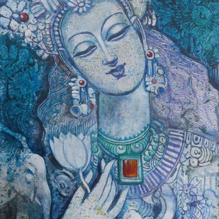 Untitled by Sarbani Ganguly, Traditional Painting, Acrylic on Canvas, Blue color