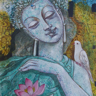 Untitled by Sarbani Ganguly, Traditional Painting, Acrylic on Canvas, Green color